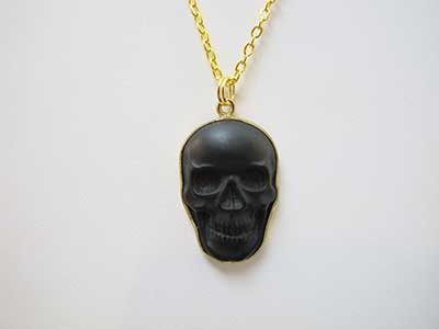 Crystal skull pendants jewelry black obsidian crystal skull pendant in gold tone aloadofball Choice Image
